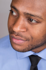 black happy male looking confident.