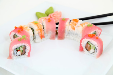 Rainbow Maki Sushi with Eel, Tuna, Salmon and Avocado