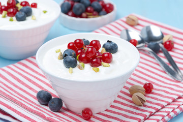 fresh sweet yogurt with berries, horizontal