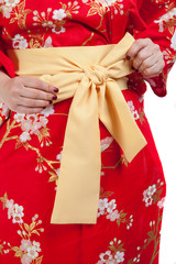 Yellow ribbon on Japanese traditional clothes of Kimono, Yukata