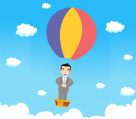 Business man with parachute