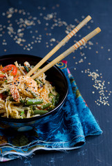 Chinese noodles with vegetables and shrimp