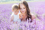 Fototapety Mother and gaughter playing in lavender field