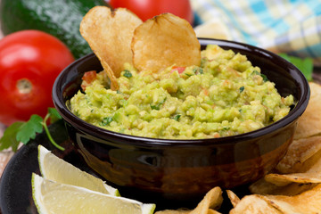 Mexican sauce guacamole and chips