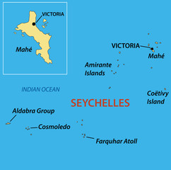 Republic of Seychelles - vector map