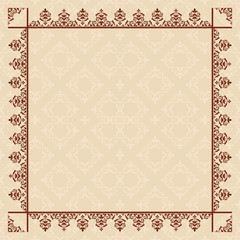 quadratic beige card with vintage frame - vector