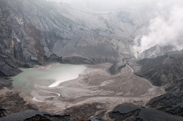 Volcanic lake in crater