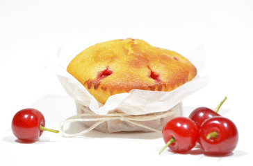 Muffin with sour cherries