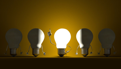 Light bulbs, moment of insight on yellow