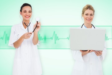 Composite image of happy female medical team
