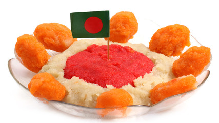 Bangladeshi Cuisine Halua or Halva with national flag
