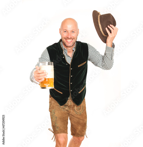 canvas print picture Mann in Lederhose mit Bier