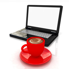 3d cup and a laptop