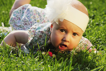 surprised baby on green grass