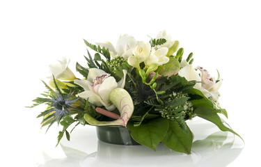 flower arrangement with lilys and freesia