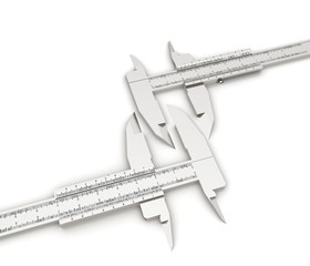 Calipers on a white background