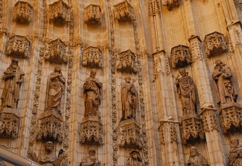 Detail facade Cathedral of Seville, Spain