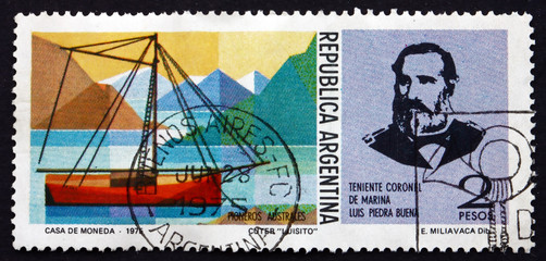 Postage stamp Argentina 1975 Luis Piedrabuena and Cutter, Luisit