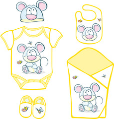 Cute Baby Layette with mouse and butterfly - vector illustration