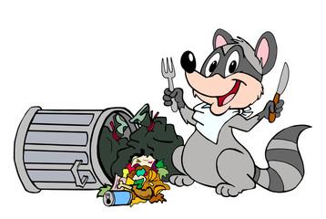 Raccoon Eating Trash