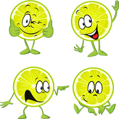 lime cartoon with hands isolated on white background