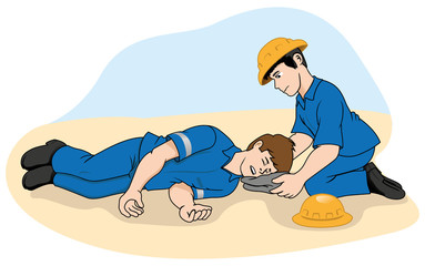 Unconscious person support the head