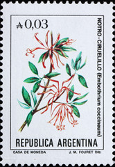 Postage stamp Argentina 1985 Chilean Firetree, Small Evergreen