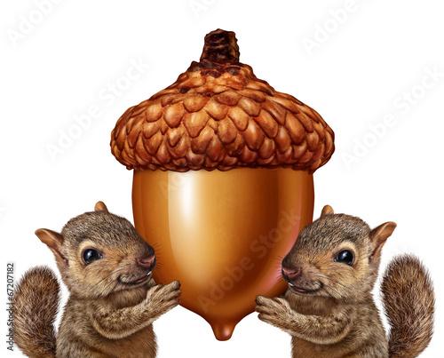 Leinwandbild Motiv Squirrels Holding An Acorn