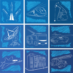 Industrial Transport Space HQ Icons