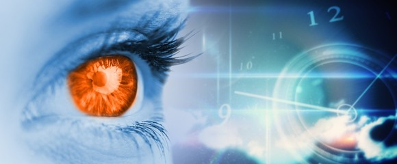 Composite image of orange eye on blue face