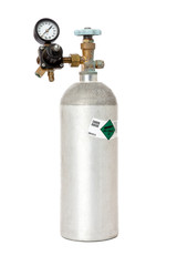 Carbon Dioxide Tank With Regulator And Label Isolated On White