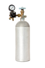 Carbon Dioxide Tank With Regulator Isolated On White