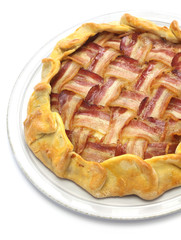 homemade bacon lattice pie isolated on white background