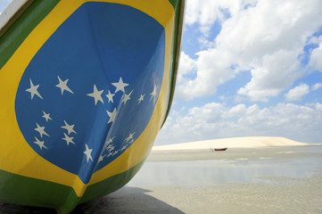 Brazilian Flag Fishing Boat on Brazil Beach