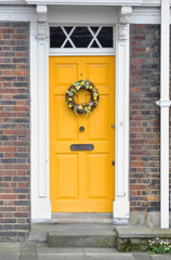Yellow door. English style.
