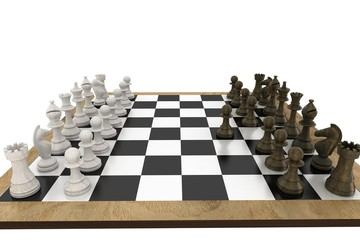Chess pieces facing off on board