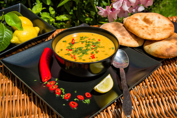Traditional soup of red lentils