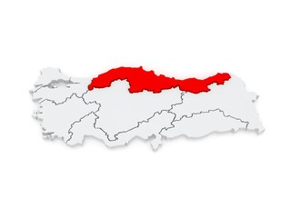 Map of The Black Sea region. Turkey.