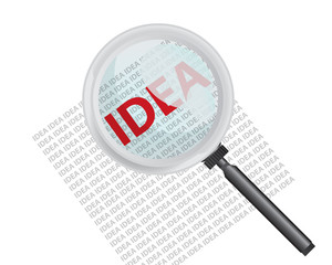 Finding Idea with Magnifying Glass Concept