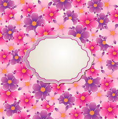 Background with pink and violet flowers
