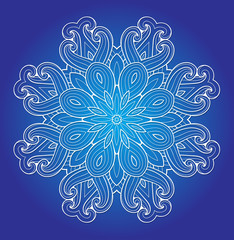 Round ornament on a blue background