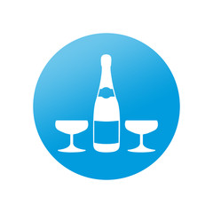 Etiqueta redonda botella de champan