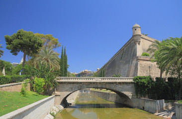 Bridge, Sa-Ryer's channel, fortress. Palma-de-Majorca, Spain