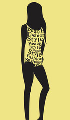 Woman in swimsuit from words. Vector