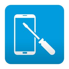 Etiqueta tipo app azul simbolo reparacion de smartphones