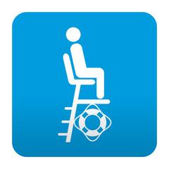 Etiqueta tipo app azul simbolo socorrista