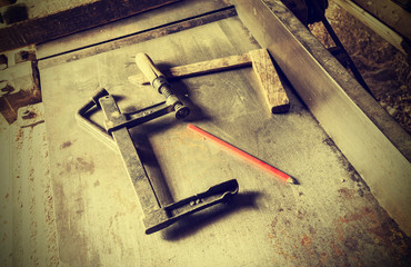 Old traditional carpenter's tools, retro vintage style.