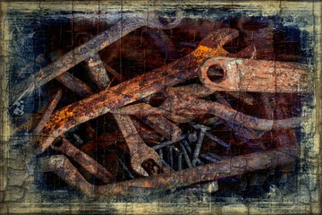 Old rusty tools as a abstract and grunge industrial background.