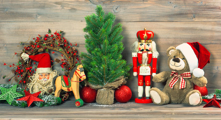 christmas decoration with antique toys teddy bear