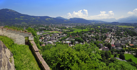 Panoramic view of the city of Salzburg, Austria